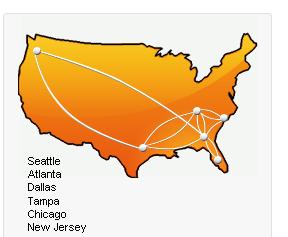 アメリカ内のネットワーク図